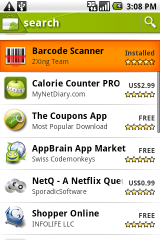 Android Market Search for Barcode